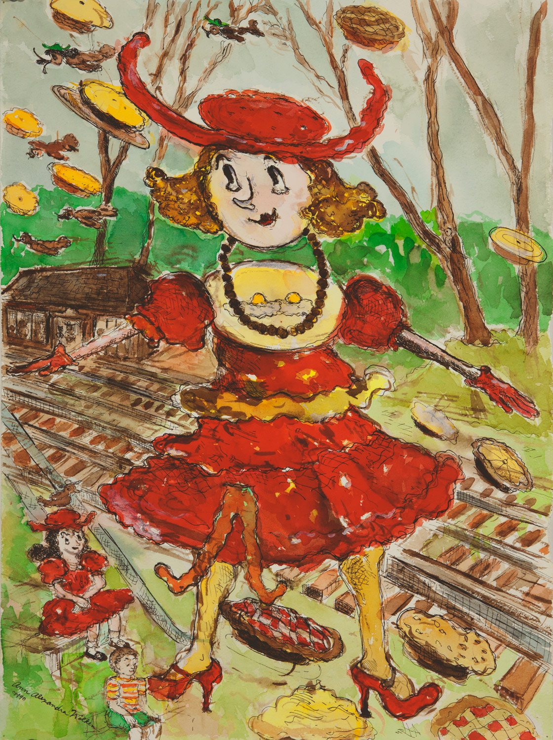 Dodie at the Railroad with Pies